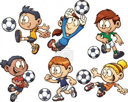 Cartoon kids playing soccer. Vector clip art illus...