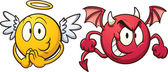 Angel and devil emoticons Vector clip art illustration with simple gradients Each on a separate layer
