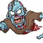 Cartoon crawling zombie. Vector clip art illustrat...
