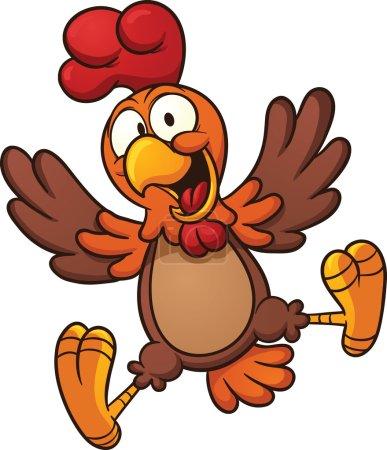 Happy cartoon chicken