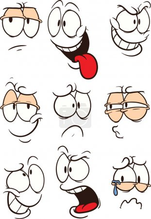 Illustration for Cartoon faces with expressions clip art. Vector cartoon illustration. Each face on a separate layer. - Royalty Free Image