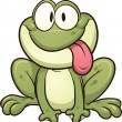 Cute cartoon frog sticking tongue out. Vector clip...