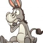 Confused cartoon donkey. Vector clip art illustrat...