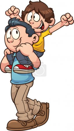 Illustration for Father carrying son on shoulders. Vector clip art illustration with simple gradients. All in a single layer. - Royalty Free Image