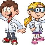 Scientist kids. Vector clip art illustration with ...