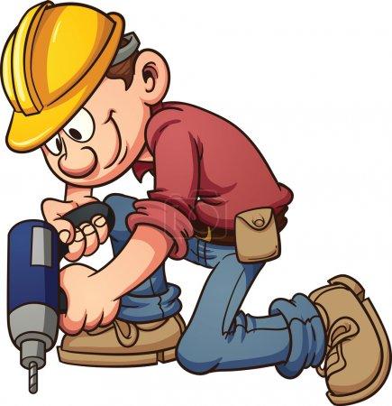 Illustration pour Travailleur de la construction de dessins animés percer un trou. Illustration de clip art vectoriel avec des dégradés simples. Le tout en une seule couche . - image libre de droit
