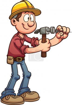 Illustration pour Travailleur de la construction martelant un clou. Illustration de clip art vectoriel avec des dégradés simples. Le tout en une seule couche . - image libre de droit