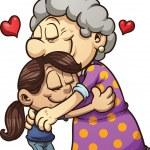 Girl hugging her grandmother. Vector clip art illu...