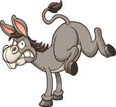 Angry donkey kick Vector clip art illustration with simple gradients All in a single layer
