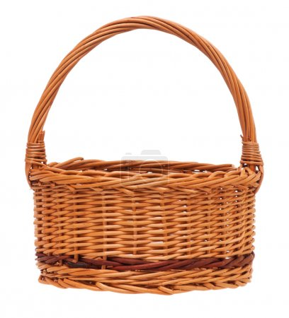 New empty wicker basket isolated on white backgrou...