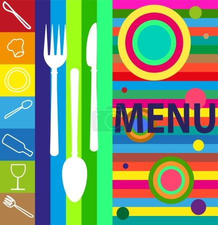 Photo pour Illustration pour menu avec divers symboles en couleurs pop - image libre de droit