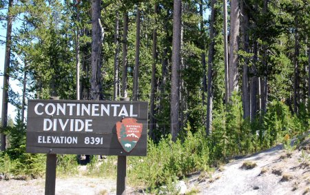 Photo for Yellowstone, Continental divide sign showing elevation - Royalty Free Image