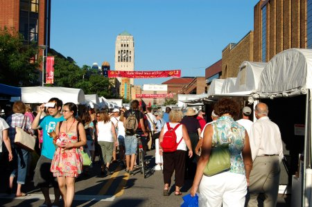 Photo for ANN ARBOR, MI - JULY 21: Crowds enjoy the Ann Arbor State Street Area Art Fair in Ann Arbor, MI. With 325 artists, it is one of four art fairs taking place in Ann Ar - Royalty Free Image