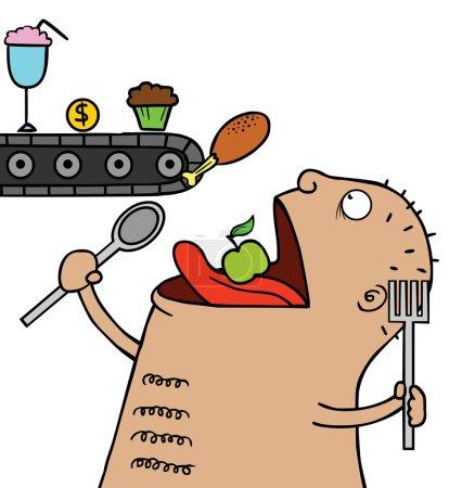 Illustration pour Illustration d'un homme chauve gras manger beaucoup de nourriture - image libre de droit