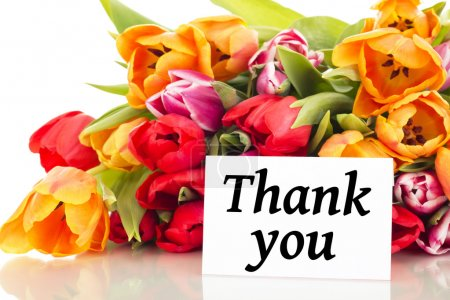 Bunch of tulips with card: Thank you