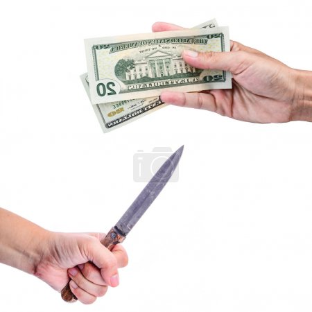 Man with knife threatening human to give money