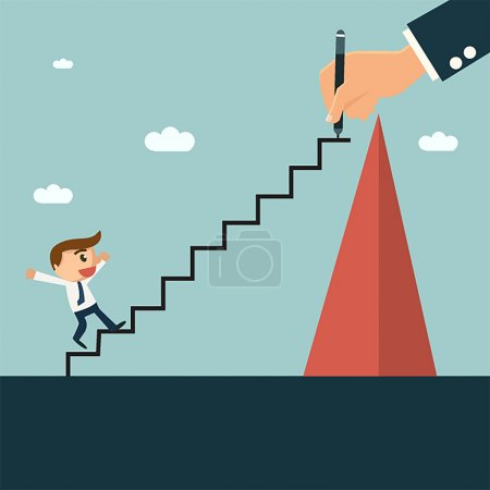 Illustration for Businessman writting ladder for his partner to easy climbing hill, mentor and partnership concept. - Royalty Free Image