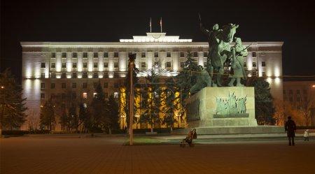 Regional parliament building lit decorative illumination