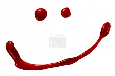 Blood, jam or red paint droplets smiley. Isolated on white. Clipping path