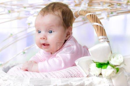 Baby girl in a wicker basket