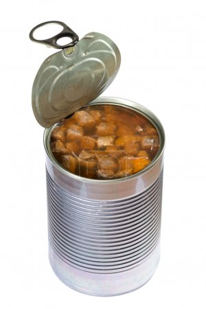 Photo for Opened dog or cat canned food isolated on white background. Clipping path - Royalty Free Image