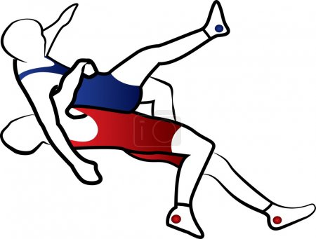 Wrestling suplay throw stylized vector illustration