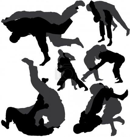 Jujitsu (jiu-jitsu) vector silhouettes