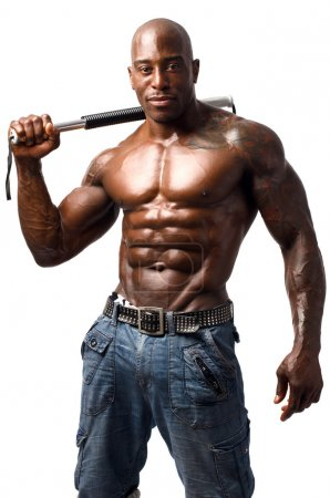 Black bodybuilder training with a bendy bar. Man showing his perfect muscles. Isolated on white background