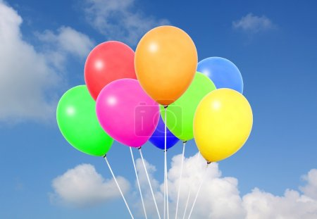 Colorful balloons in blue sky