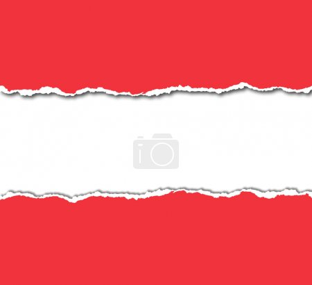 Photo pour Rouge papier déchiré avec fond blanc - image libre de droit