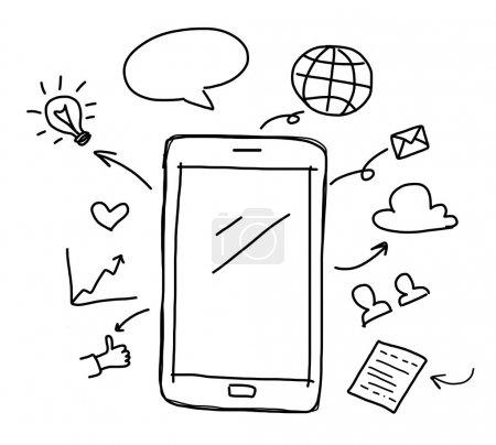 Photo pour Main dessin téléphone intelligent avec le concept de médias sociaux - image libre de droit