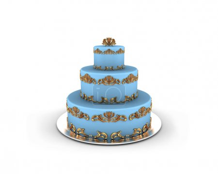 Blue cake on three floors with gold ornaments on it isolated on white background