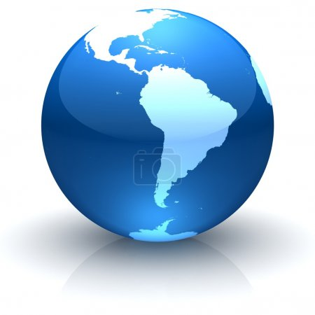 Blue globe marble facing South America