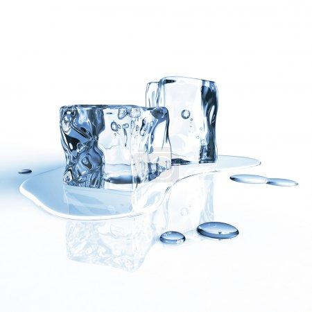 Melting ice cubes on white