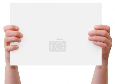 Hands holding blank sheet