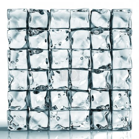 Wall of ice cube bricks