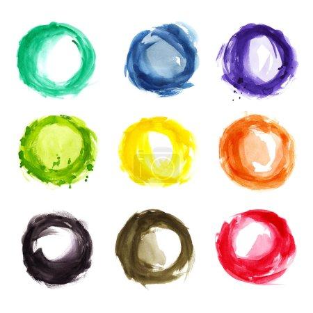 Foto de Diversos círculos colores acuarelas aislados - Imagen libre de derechos