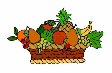Wicker basket with fruits on white background