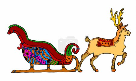 Christmas sleigh with reindeer on white background