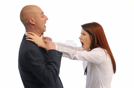 Man and woman fighting