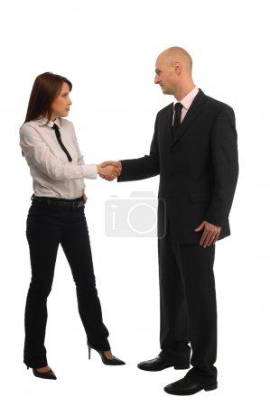 Handshake between men and women, white background...