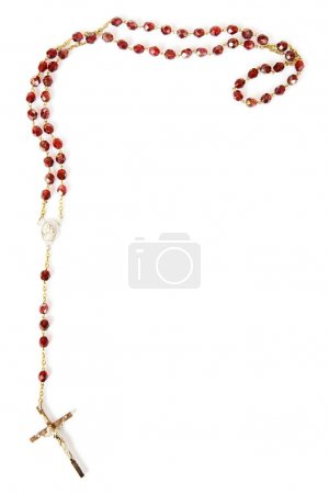 Rosary bead border isolated on white with space fo...