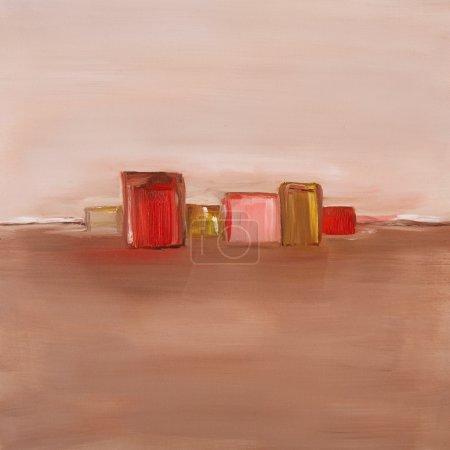 Photo pour Peinture à l'huile contemporaine d'un paysage abstrait en couleurs rouges et neutres - image libre de droit