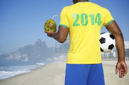 Brazilian Soccer Football Player Wearing 2014 Shirt Rio