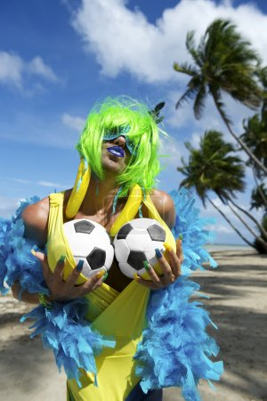 Sexy Brazilian Soccer Fan on Beach