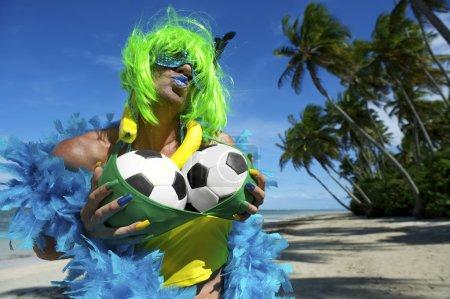Sexy Brazilian Soccer Fan on Beach