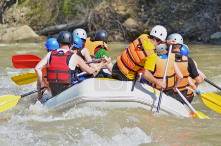 Rafting on the mountain river
