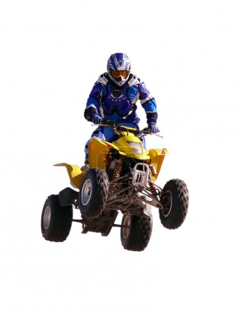 Jump on quadrocycle on a white background.