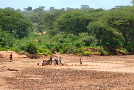 Исиоло, Кения - 28 ноября 2008: странные кенийских мужчин, женщин и детей погружен на ослов воды в баночках. лес на заднем плане