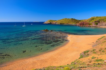 View of beach at Cala Cavalleria bay, Menorca